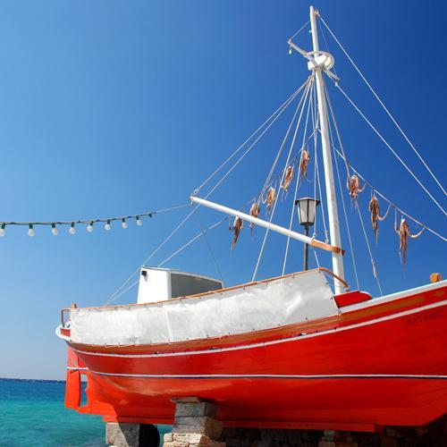 rode boot met octopus
